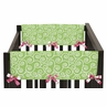 Olivia Pink and Green Baby Crib Side Rail Guard Covers by Sweet Jojo Designs - Set of 2