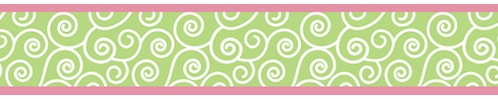 Olivia Pink and Green Children and Kids Wall Border by Sweet Jojo Designs - Click to enlarge