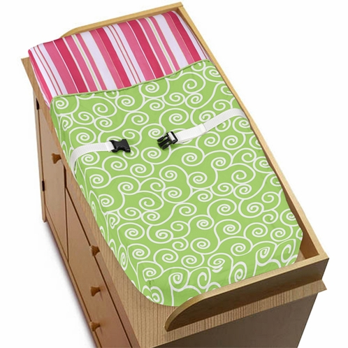 Olivia Pink and Green Girls Baby Changing Pad Cover - Click to enlarge