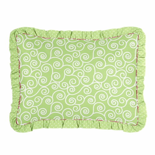 Olivia Pink and Green Girls Pillow Sham - Click to enlarge