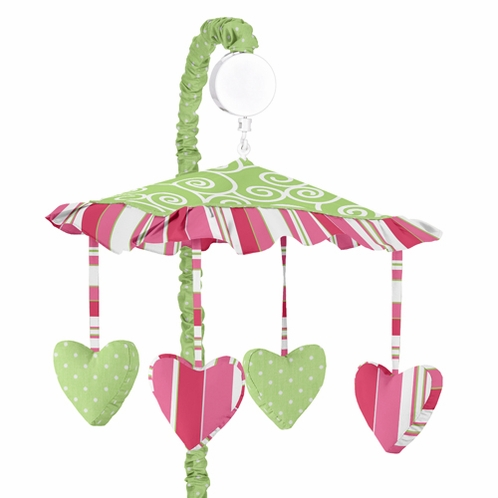 Olivia Pink and Green Musical Baby Crib Mobile by Sweet Jojo Designs - Click to enlarge