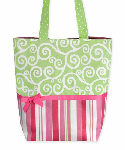 Olivia Pink and Green, Stripes and Scroll Print Tote Handbag (Great for Diaper Bag, Tote Bag, Purse or Beach Bag) - Click to enlarge