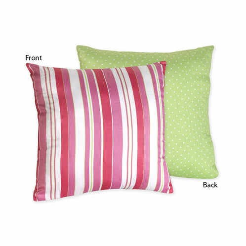 Olivia Pink and Green Stripes/Dots Decorative Accent Throw Pillow - Click to enlarge