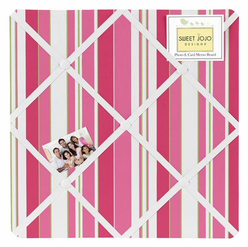 Olivia Pink Lime and White Stripe Fabric Memory/Memo Photo Bulletin Board by Sweet Jojo Designs - Click to enlarge