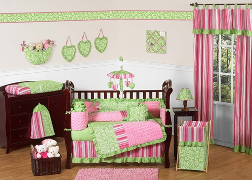Olivia Girls Boutique Pink And Green Baby Bedding   9pc Crib Set By Sweet  Jojo Designs