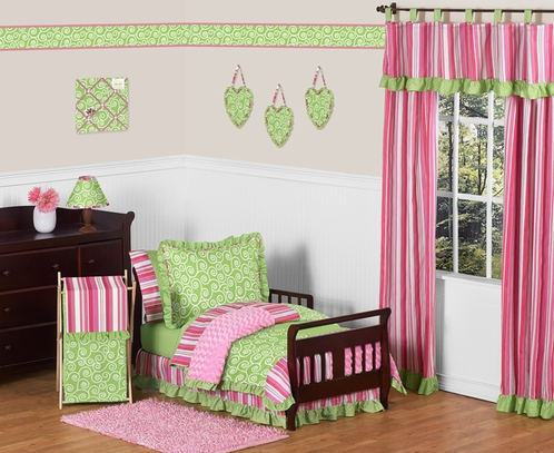 Olivia Girls Boutique Pink and Green Toddler Bedding - 5pc Set by Sweet Jojo Designs - Click to enlarge
