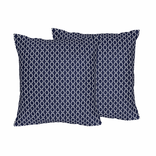 Navy Hexagon Print Decorative Accent Throw Pillows - Set of 2 - Click to enlarge