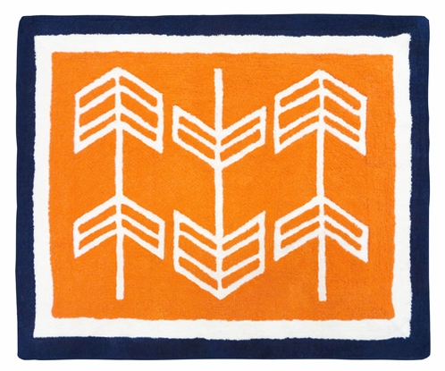 Orange and Navy Arrow Accent Floor Rug by Sweet Jojo Designs - Click to enlarge
