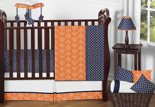Orange And Navy Arrow Baby Bedding 11pc Crib Set By Sweet Jojo Designs Click