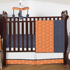 Orange and Navy Arrow Baby Bedding - 4pc Crib Set by Sweet Jojo Designs