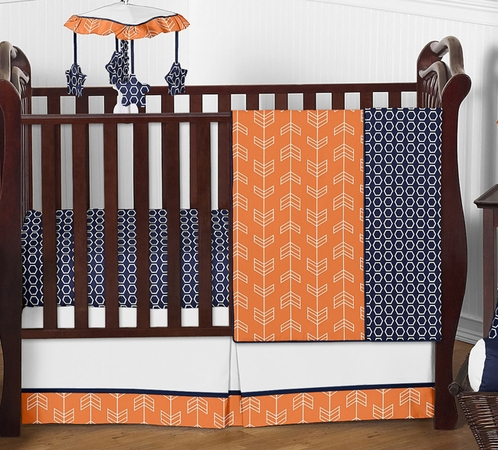 Orange and Navy Arrow Baby Bedding - 4pc Crib Set by Sweet Jojo Designs - Click to enlarge