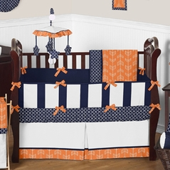 Orange And Navy Arrow Baby Bedding 9pc Crib Set By Sweet Jojo Designs