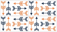 Orange and Navy Arrow Baby, Childrens and Kids Wall Decal Stickers - Set of 4 Sheets