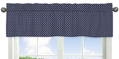Orange and Navy Arrow Collection Hexagon Print Window Valance