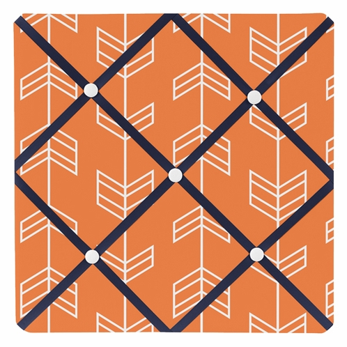 Orange and Navy Arrow Fabric Memory/Memo Photo Bulletin Board - Click to enlarge