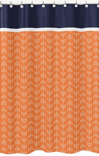 Orange and Navy Arrow Kids Bathroom Fabric Bath Shower Curtain - Click to enlarge