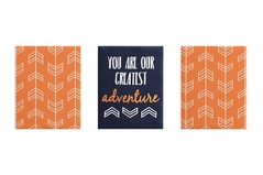 Orange and Navy Blue Woodland Wall Art Room Decor Hangings for Baby, Nursery, Kids and Childrens Arrow Collection by Sweet Jojo Designs - Set of 3