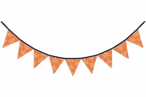 Orange and White Arrow Fabric Pennant Flag Banner Bunting Nursery Baby Wall Décor - Click to enlarge