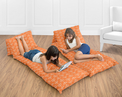Orange and White Arrow Kids Teen Floor Pillow Case Lounger Cushion Cover by Sweet Jojo Designs