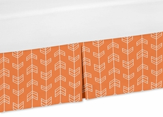 Orange and White Crib Bed Skirt for Orange and Navy Arrow Kids Childrens Bedding Sets