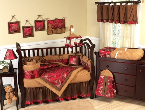Oriental Garden Asian Baby Bedding - 9 pc Brocade Crib Set - Click to enlarge