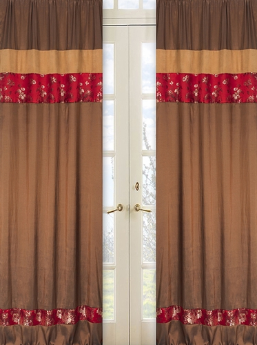 Oriental Garden Window Treatment Panels - Set of 2 - Click to enlarge