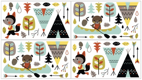 Outdoor Adventure Peel and Stick Wall Decal Stickers Art Nursery Decor by Sweet Jojo Designs - Set of 4 Sheets - Click to enlarge