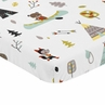 Stone and Aqua Woodland Animals Baby Toddler Fitted Mini Portable Crib Sheet for Outdoor Adventure Collection by Sweet Jojo Designs