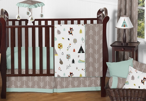 Outdoor Adventure Nature Baby Bedding - 4pc Girls or Boys Crib Set by Sweet Jojo Designs - Click to enlarge