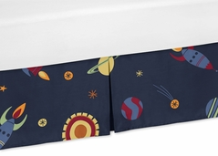 Outer Space Print Crib Bed Skirt for Space Galaxy Bedding Sets