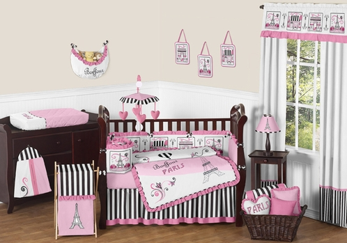 Paris Baby Bedding - 9pc Crib Set by Sweet Jojo Designs - Click to enlarge