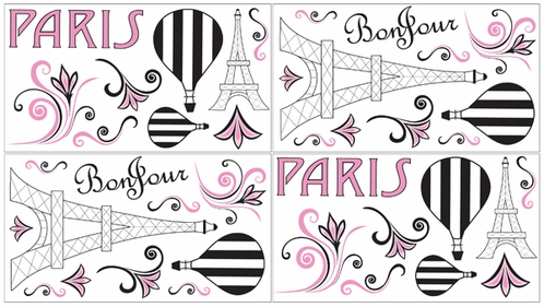 Pink, Black and White Paris Peel and Stick Wall Decal Stickers Art Nursery Decor by Sweet Jojo Designs - Set of 4 Sheets - Click to enlarge