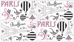 Paris Baby, Childrens and Kids Wall Decal Stickers - Set of 4 Sheets