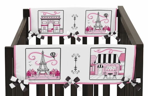Paris Baby Crib Side Rail Guard Covers by Sweet Jojo Designs - Set of 2 - Click to enlarge