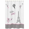 Paris Kids Bathroom Fabric Bath Shower Curtain