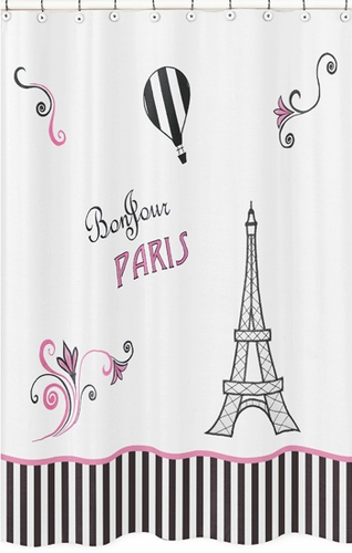 Paris Kids Bathroom Fabric Bath Shower Curtain - Click to enlarge
