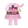 Pink and Black Floral, Stripe and Polka Dot Baby Girls 2pc Outfit or Dress by Sweet Jojo Designs