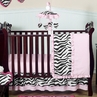 Pink and Black Funky Zebra Baby Bedding - 11pc Crib Set