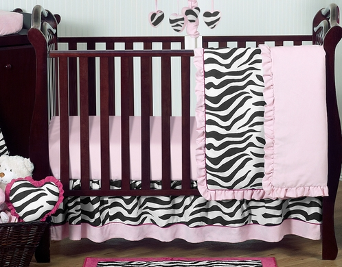 Pink and Black Funky Zebra Baby Bedding - 11pc Crib Set - Click to enlarge