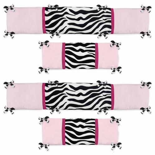 Pink and Black Funky Zebra Baby Crib Bumper Pad by Sweet Jojo Designs - Click to enlarge