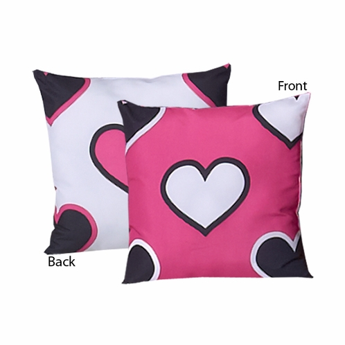 Pink and Black Hearts Decorative Accent Throw Pillow - Click to enlarge