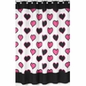Pink and Black Hearts Kids Bathroom Fabric Bath Shower Curtain
