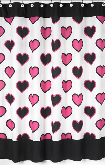 Pink And Black Hearts Kids Bathroom Fabric Bath Shower Curtain Only 2099