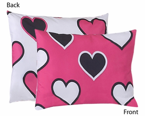 Pink and Black Hearts Pillow Sham by Sweet Jojo Designs - Click to enlarge