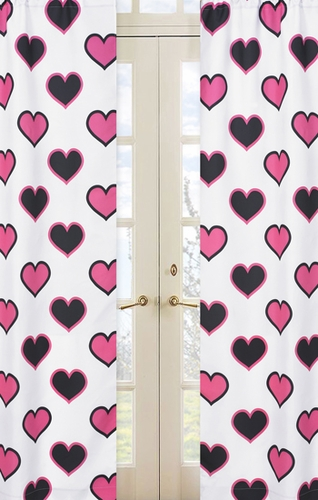 Pink and Black Hearts Print Window Treatment Panels - Set of 2 - Click to enlarge