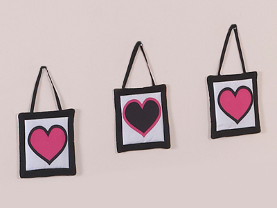 Pink and Black Hearts Wall Hanging Accessories by Sweet Jojo Designs - Click to enlarge