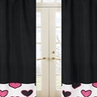 Pink and Black Hearts Window Treatment Panels - Set of 2