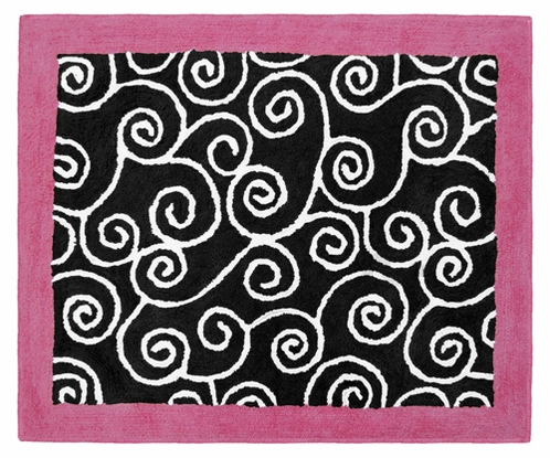 Pink and Black Madison Accent Floor Rug - Click to enlarge