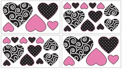 Pink and Black Madison Baby and Kids Wall Decal Stickers - Set of 4 Sheets