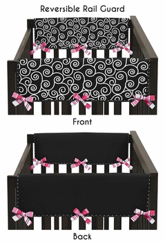 Pink and Black Madison Baby Crib Side Rail Guard Covers by Sweet Jojo Designs - Set of 2